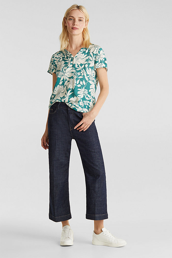 Blouse top with a Henley neckline, TEAL GREEN, detail image number 1