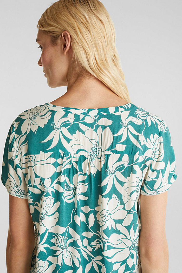 Blouse top with a Henley neckline, TEAL GREEN, detail image number 2