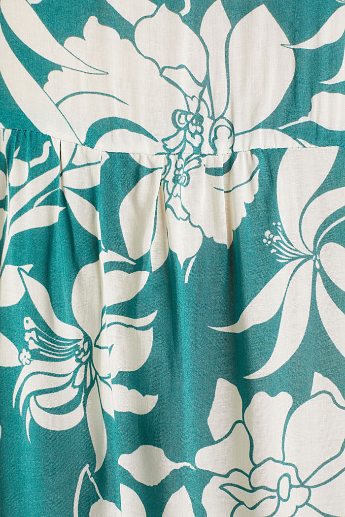 Blouse top with a Henley neckline, TEAL GREEN, detail image number 4