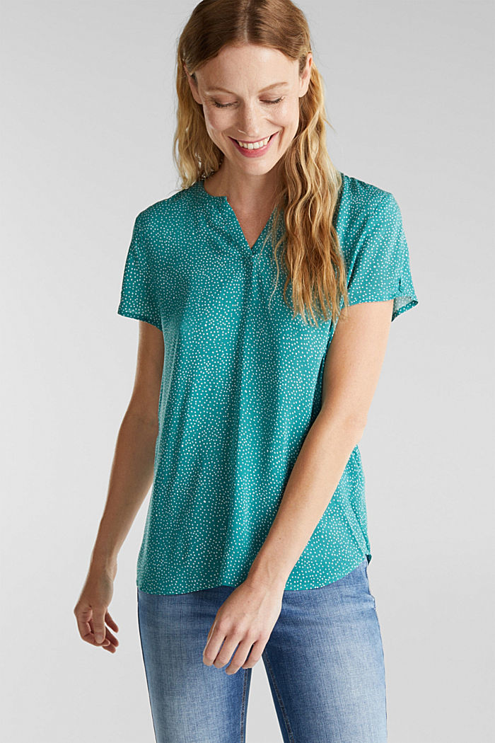 Blouse top with a Henley neckline