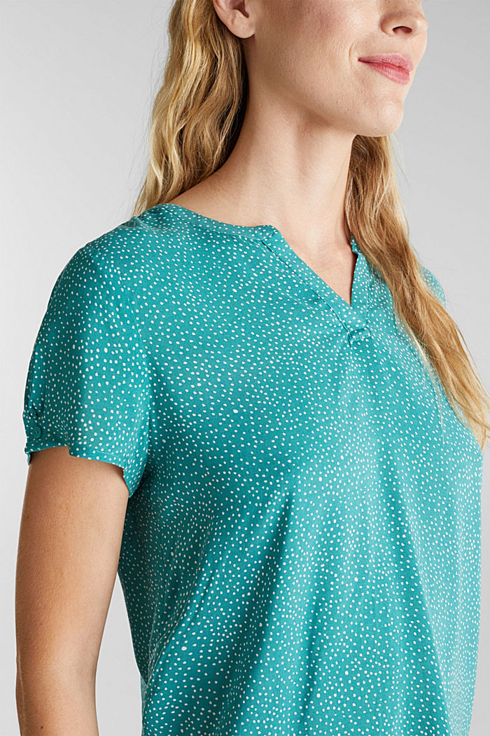 Blouse top with a Henley neckline, NEW TEAL GREEN, detail image number 2