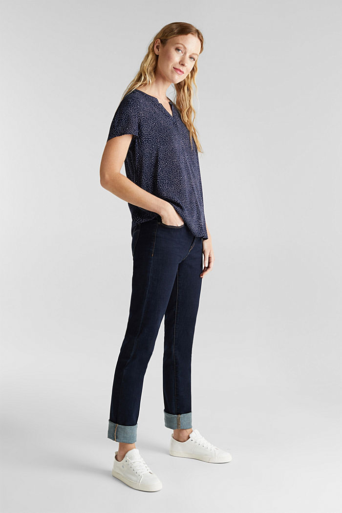 Blouse top with a Henley neckline, NAVY, detail image number 1