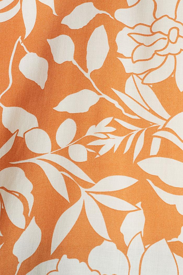 Top blusato con scollo in stile henley, RUST ORANGE, detail image number 4
