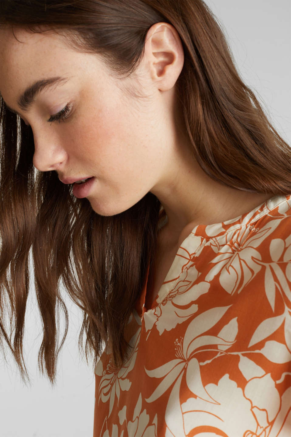 Blouse top with a Henley neckline, RUST ORANGE 2, detail image number 6