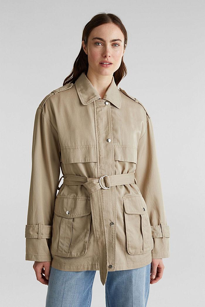 Lyocell blend utility jacket, BEIGE, detail image number 0