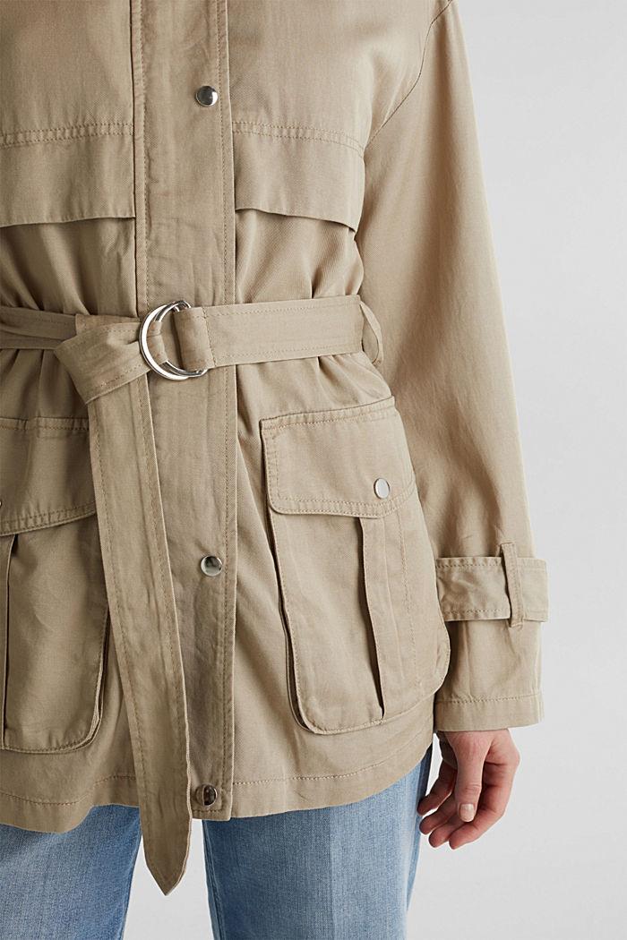 Lyocell blend utility jacket, BEIGE, detail image number 5