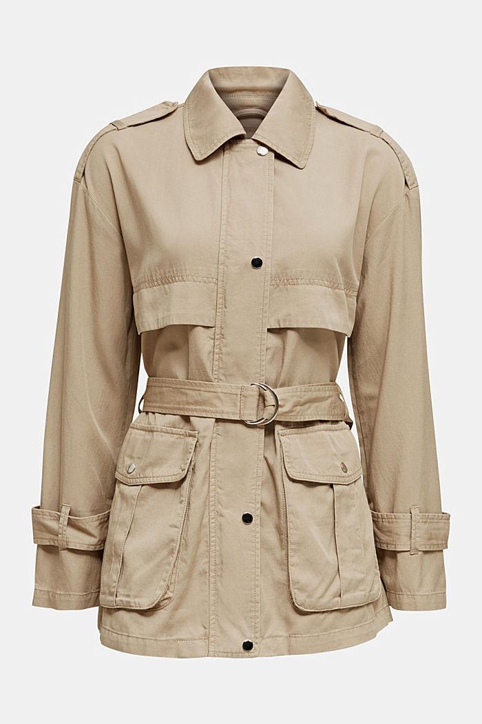 Lyocell blend utility jacket, BEIGE, detail image number 7