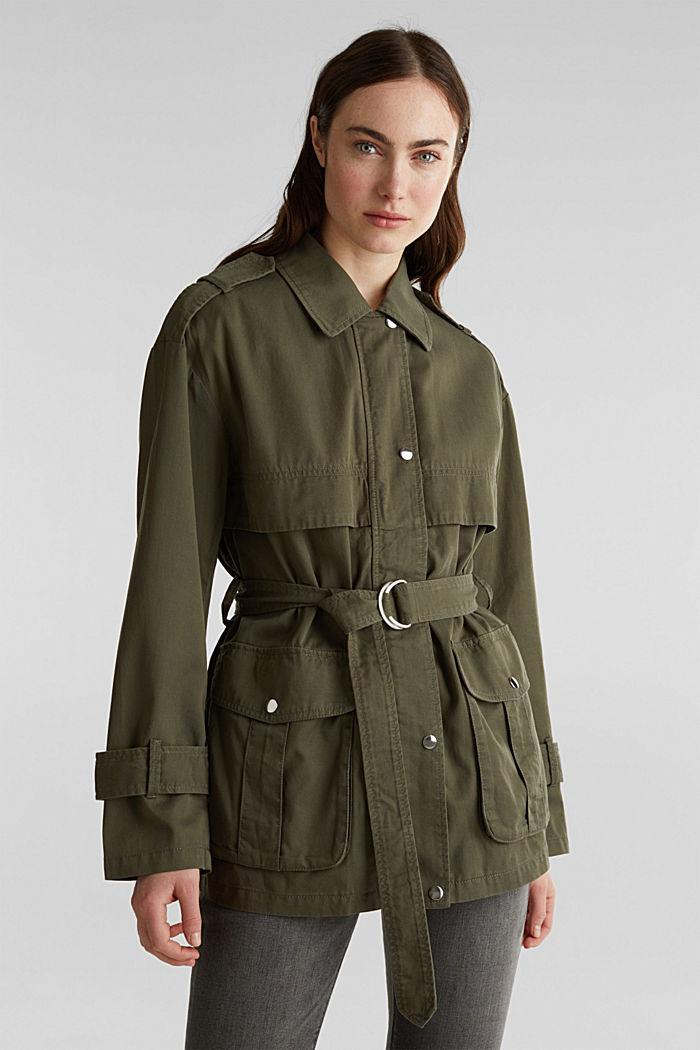 Lyocell blend utility jacket, DARK KHAKI, detail image number 0