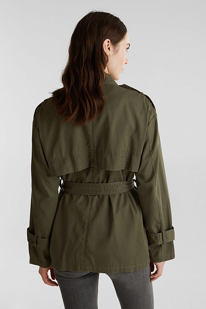 Lyocell blend utility jacket, DARK KHAKI, detail image number 3