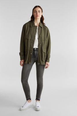 Lyocell blend utility jacket, DARK KHAKI, detail