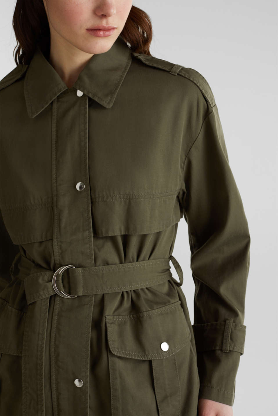 Lyocell blend utility jacket, DARK KHAKI, detail image number 2