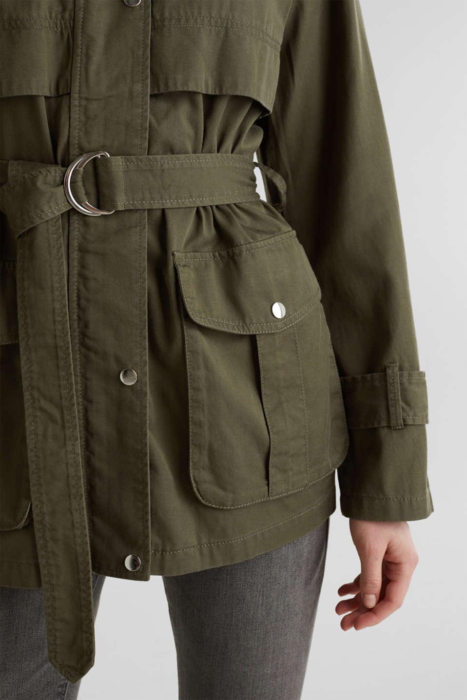 Lyocell blend utility jacket, DARK KHAKI, detail image number 5