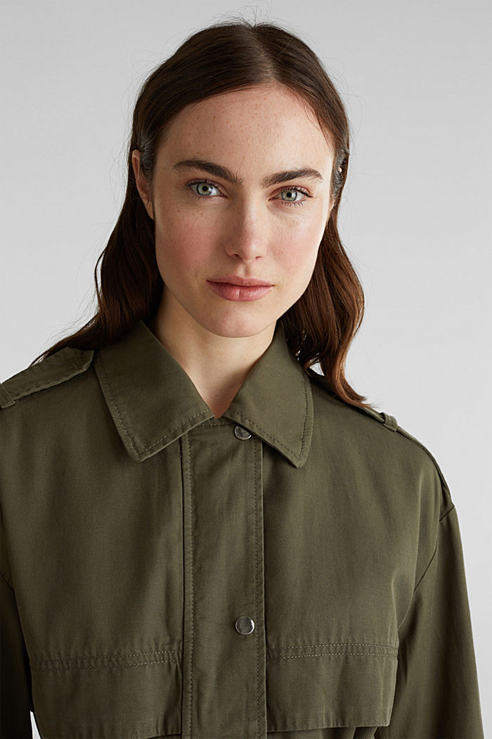 Lyocell blend utility jacket, DARK KHAKI, detail image number 6