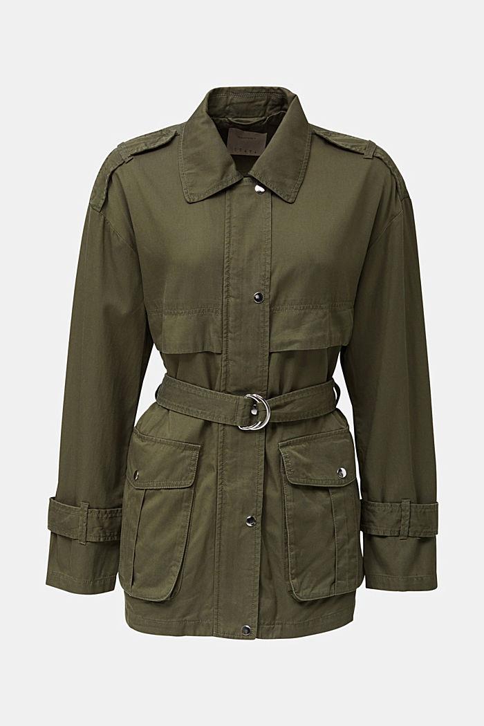 Lyocell blend utility jacket, DARK KHAKI, detail image number 7