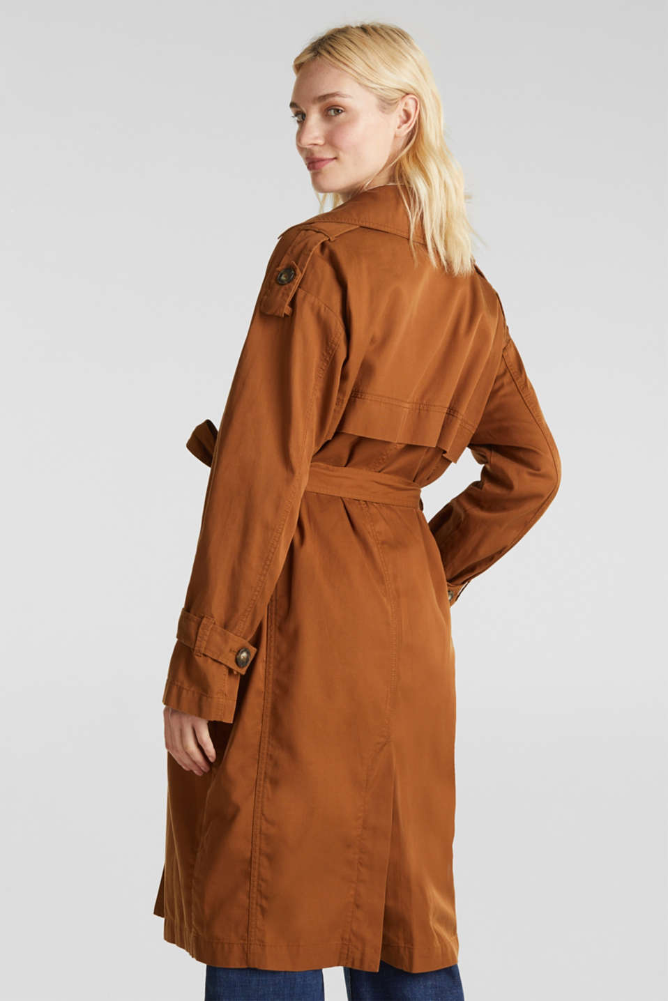 Casual trench coat made of blended lyocell, TOFFEE, detail image number 3