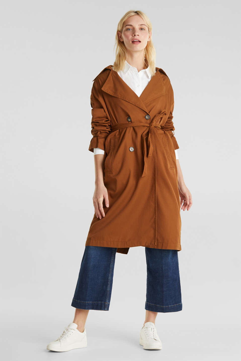 Casual trench coat made of blended lyocell, TOFFEE, detail image number 1