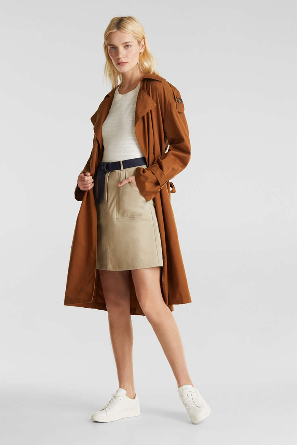 Casual trench coat made of blended lyocell, TOFFEE, detail image number 5
