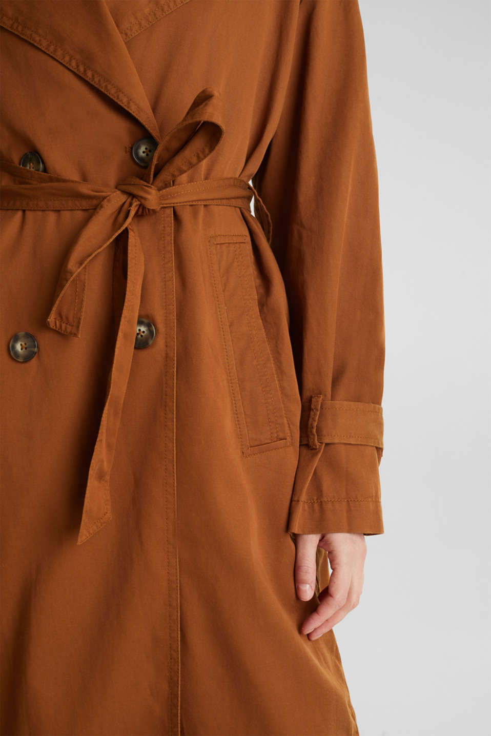 Casual trench coat made of blended lyocell, TOFFEE, detail image number 2