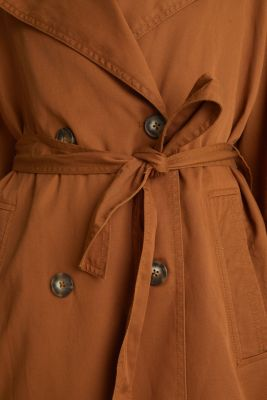Casual trench coat made of blended lyocell, TOFFEE, detail