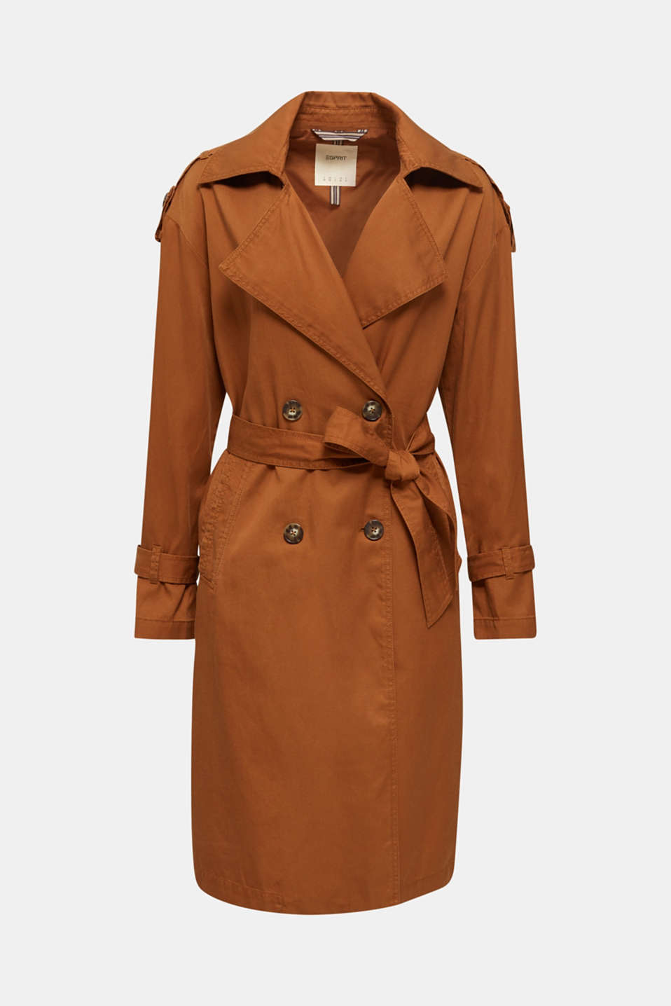Casual trench coat made of blended lyocell, TOFFEE, detail image number 6