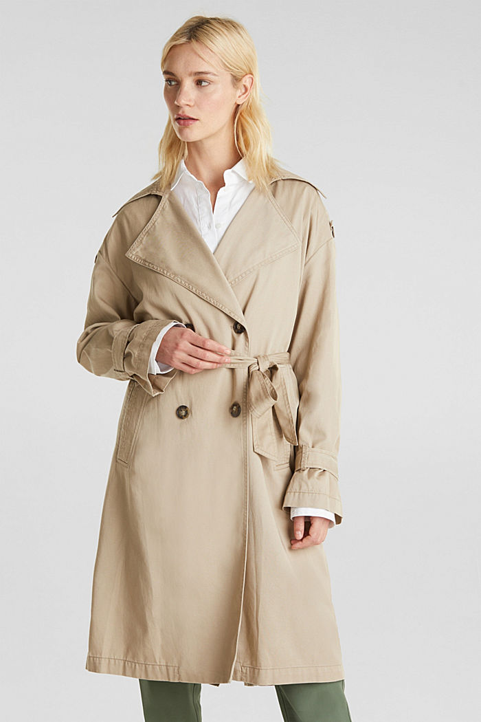 Casual trench coat made of blended lyocell, BEIGE, detail image number 0