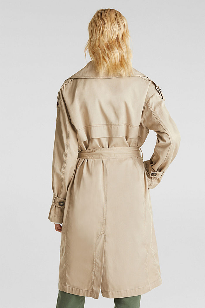 Casual trench coat made of blended lyocell, BEIGE, detail image number 3