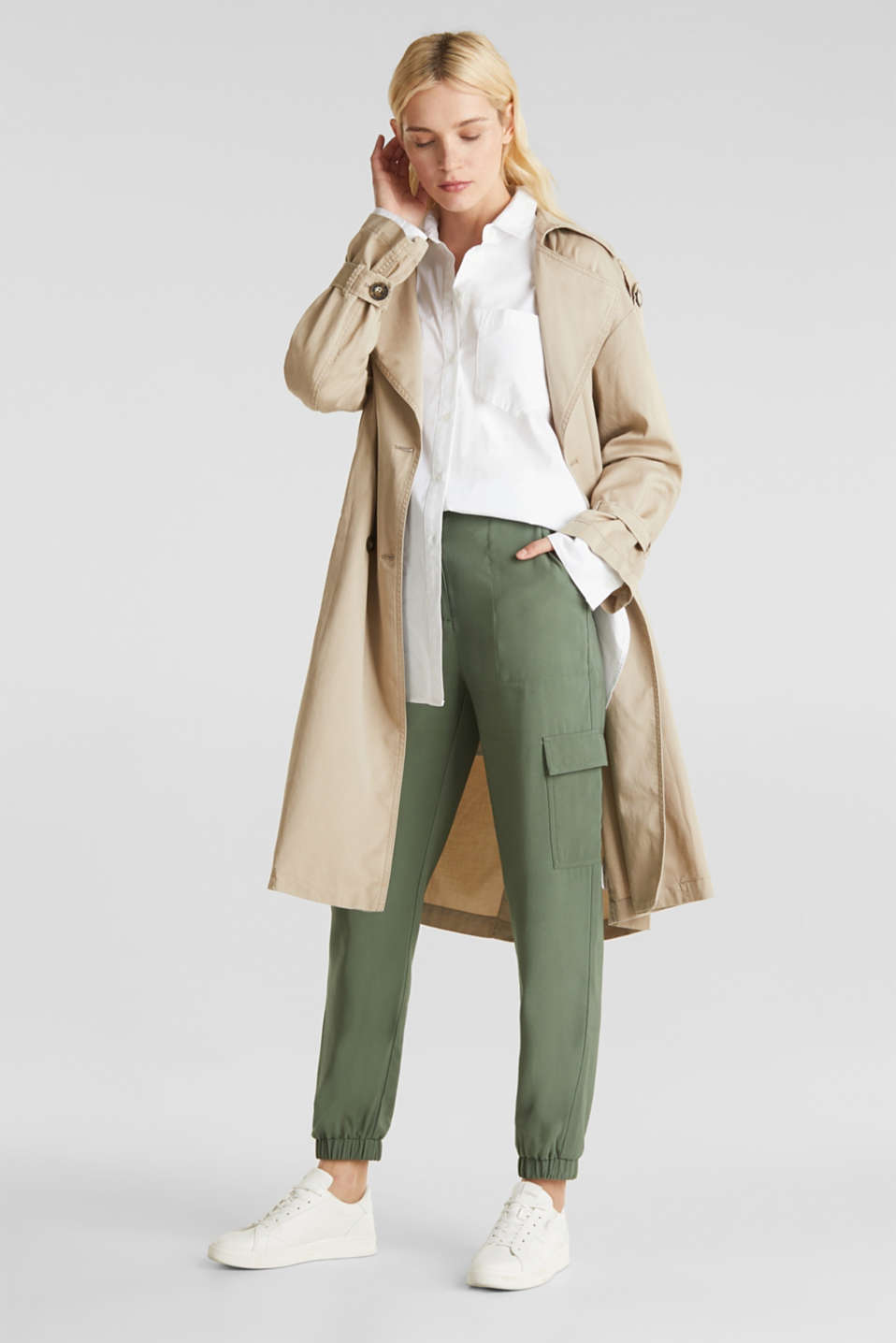 Casual trench coat made of blended lyocell, BEIGE, detail image number 5