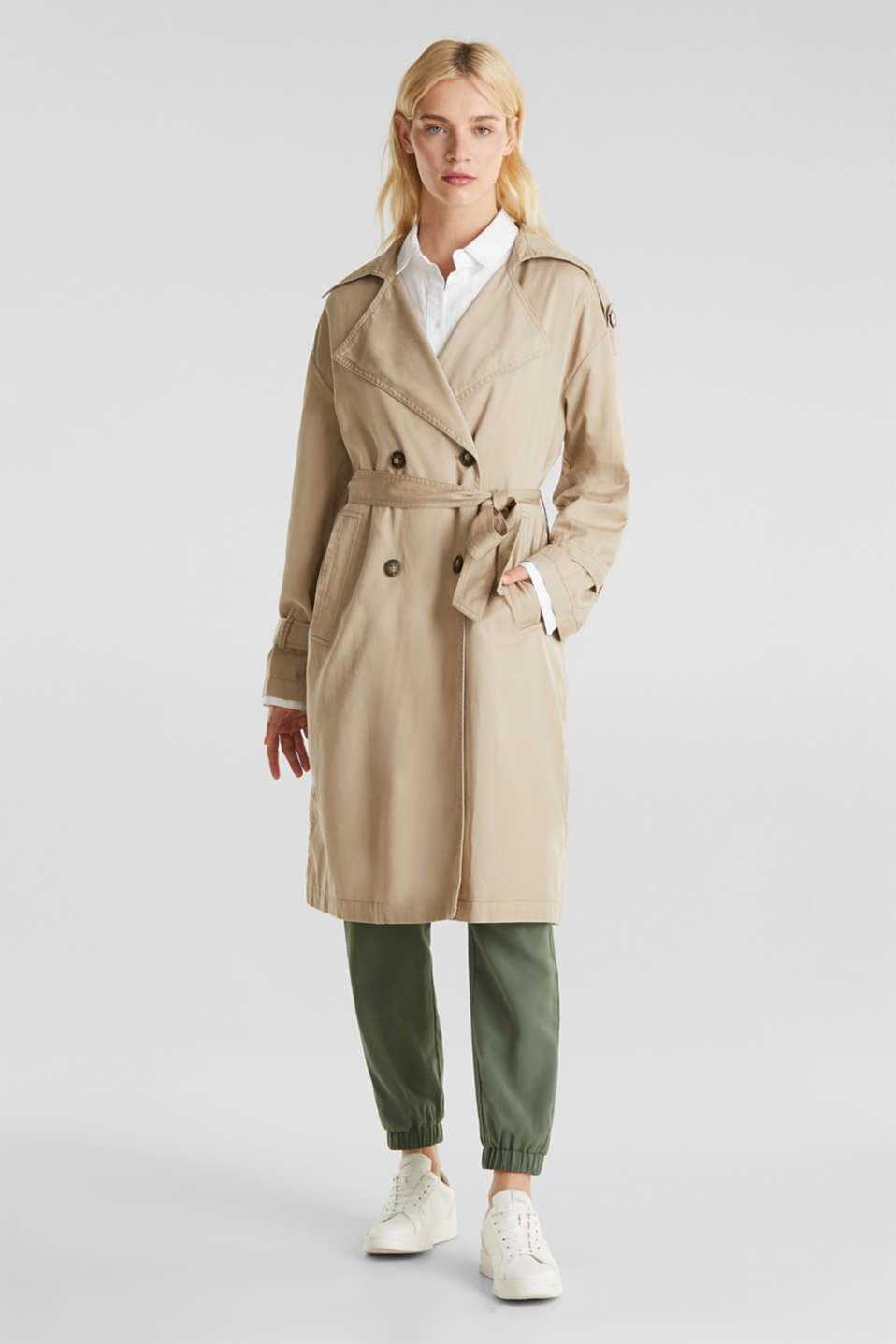 Casual trench coat made of blended lyocell, BEIGE, detail image number 1