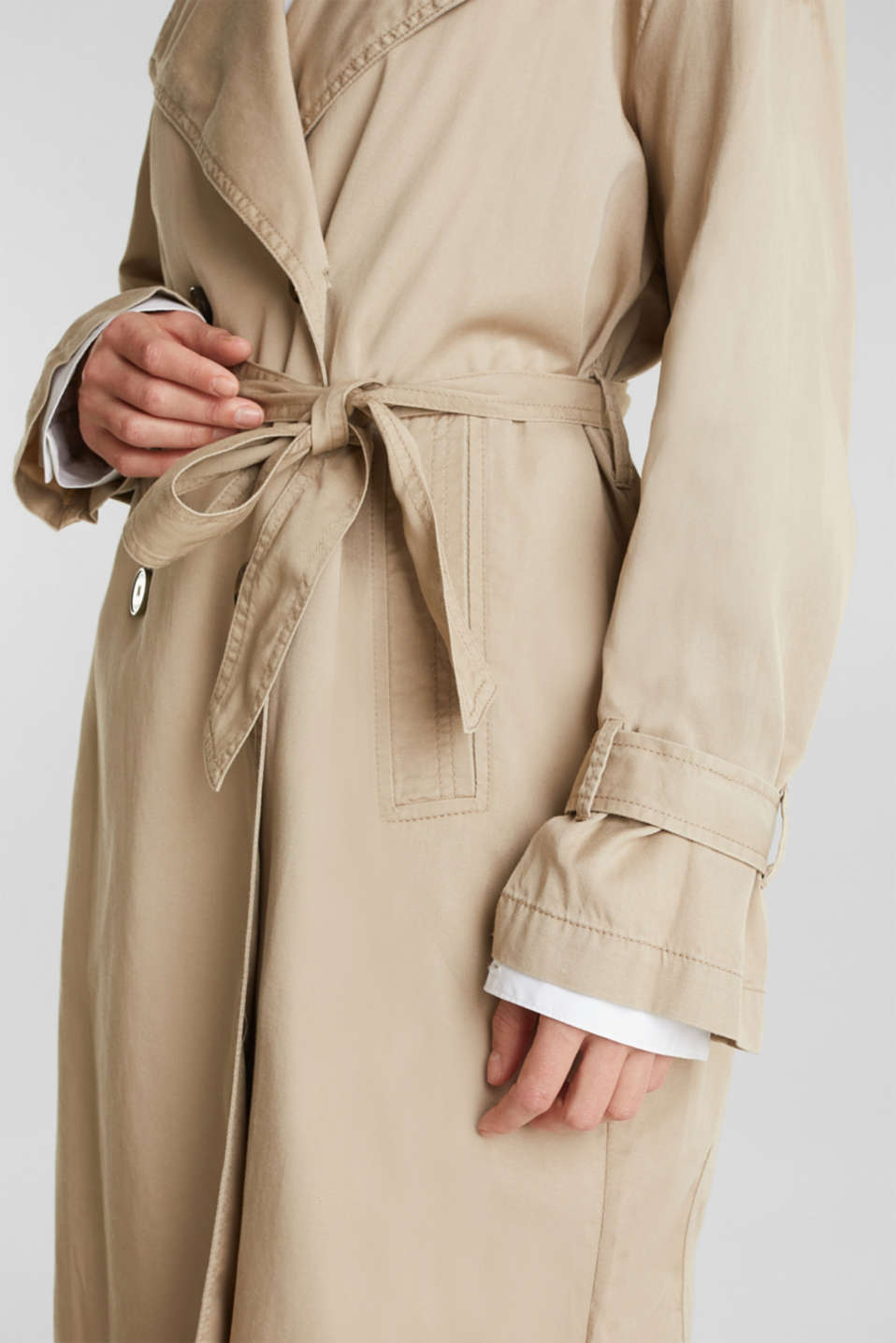 Casual trench coat made of blended lyocell, BEIGE, detail image number 2