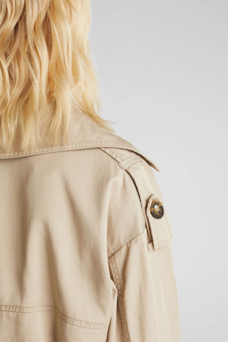 Casual trench coat made of blended lyocell, BEIGE, detail image number 4