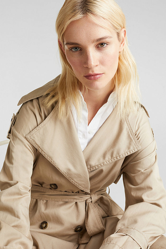 Casual trench coat made of blended lyocell, BEIGE, detail image number 6