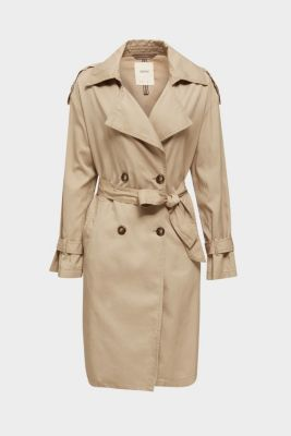 Casual trench coat made of blended lyocell, BEIGE, detail