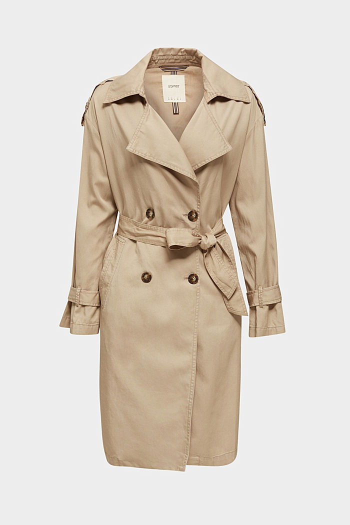Casual trench coat made of blended lyocell, BEIGE, detail image number 7