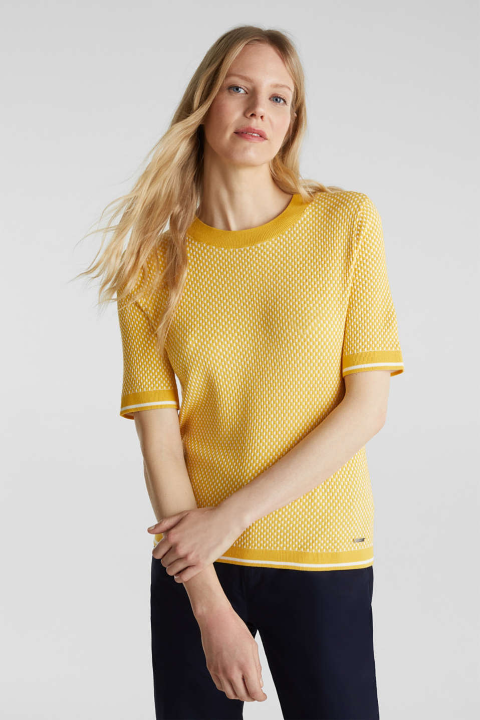 Short sleeve jumper with LENZING™ ECOVERO™, YELLOW 4, detail image number 0