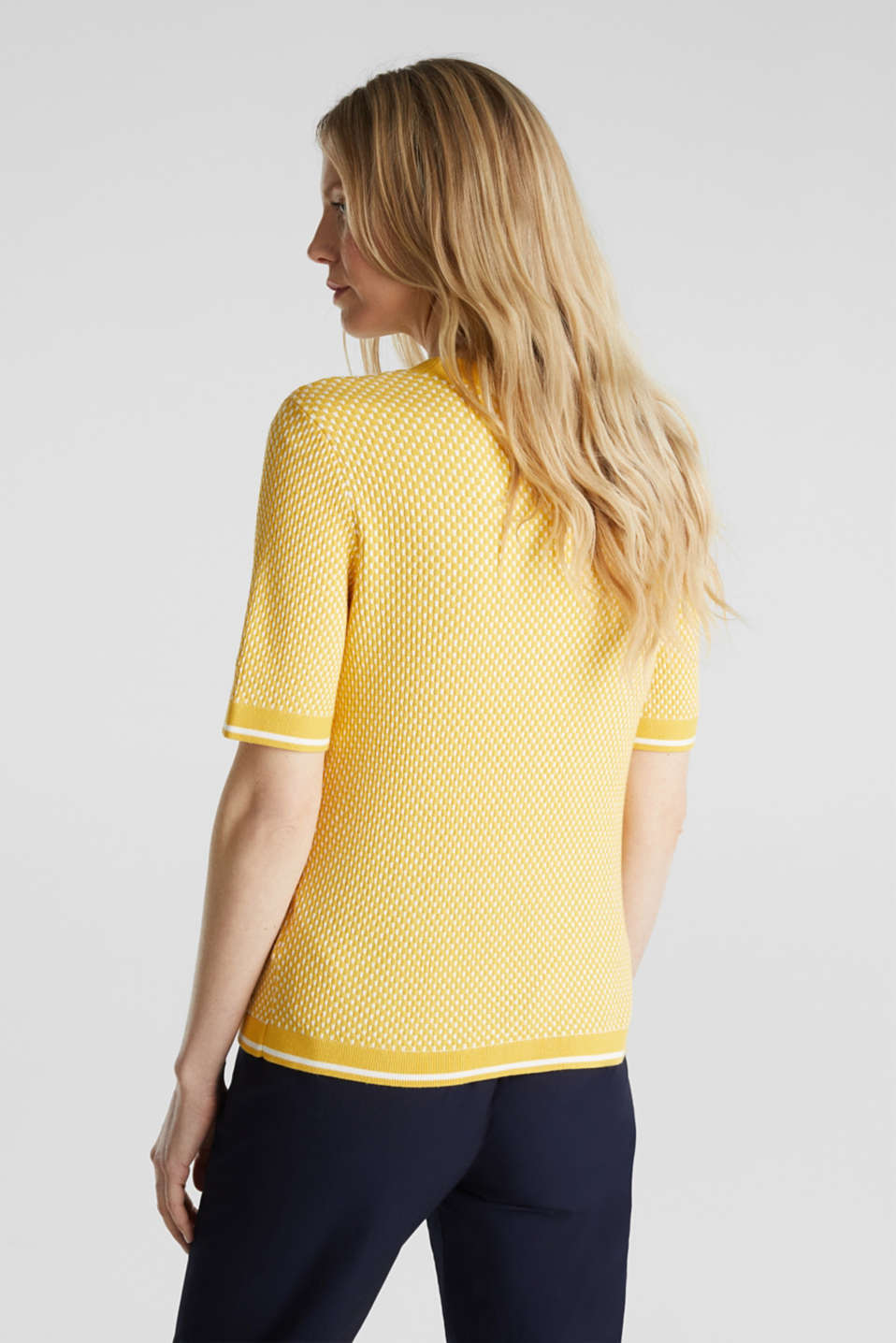 Short sleeve jumper with LENZING™ ECOVERO™, YELLOW 4, detail image number 3