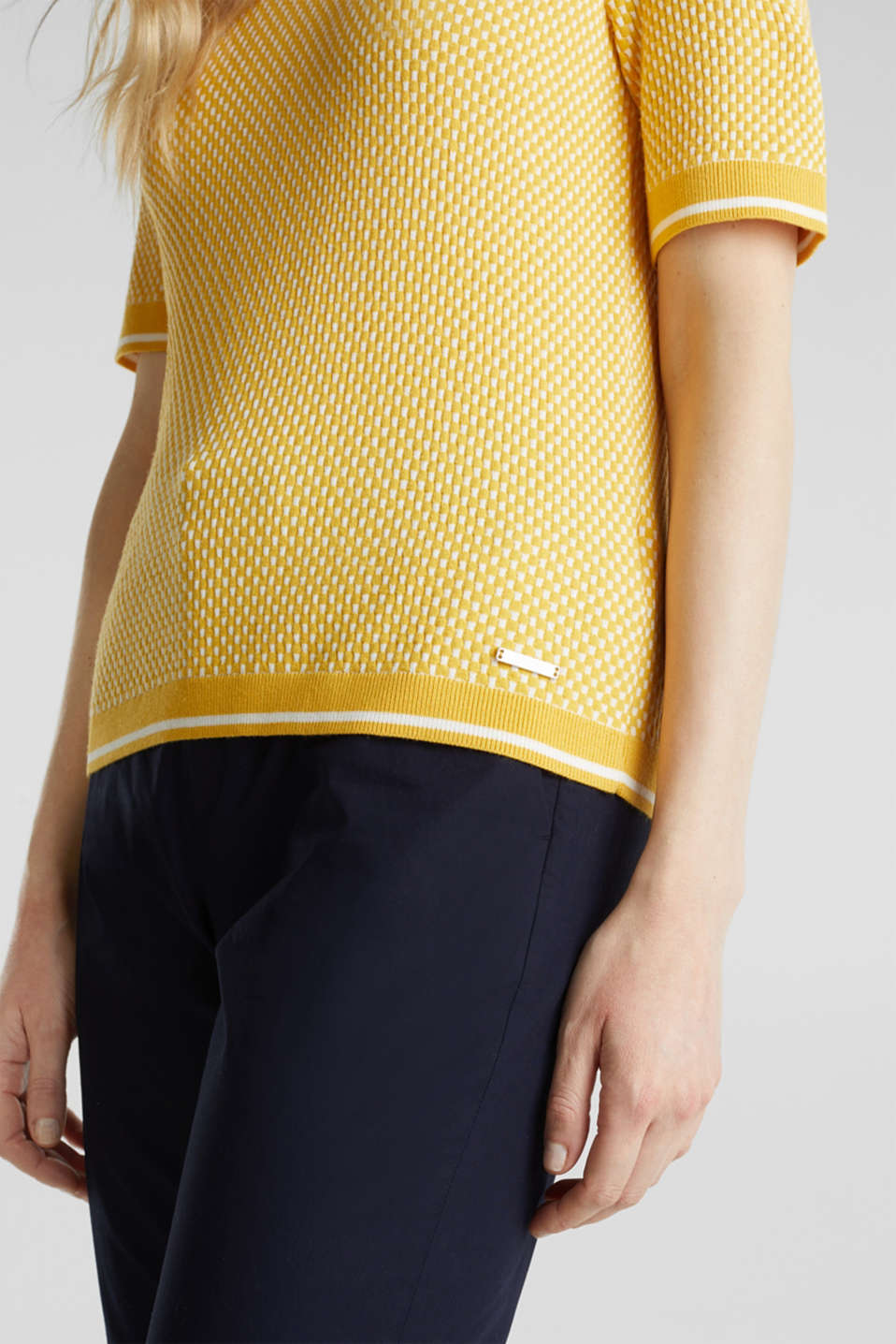 Short sleeve jumper with LENZING™ ECOVERO™, YELLOW 4, detail image number 5