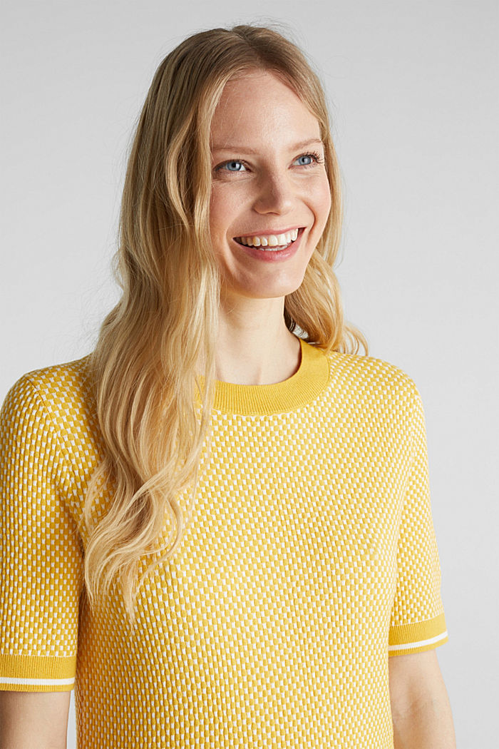Short sleeve jumper with LENZING™ ECOVERO™, YELLOW, detail image number 6