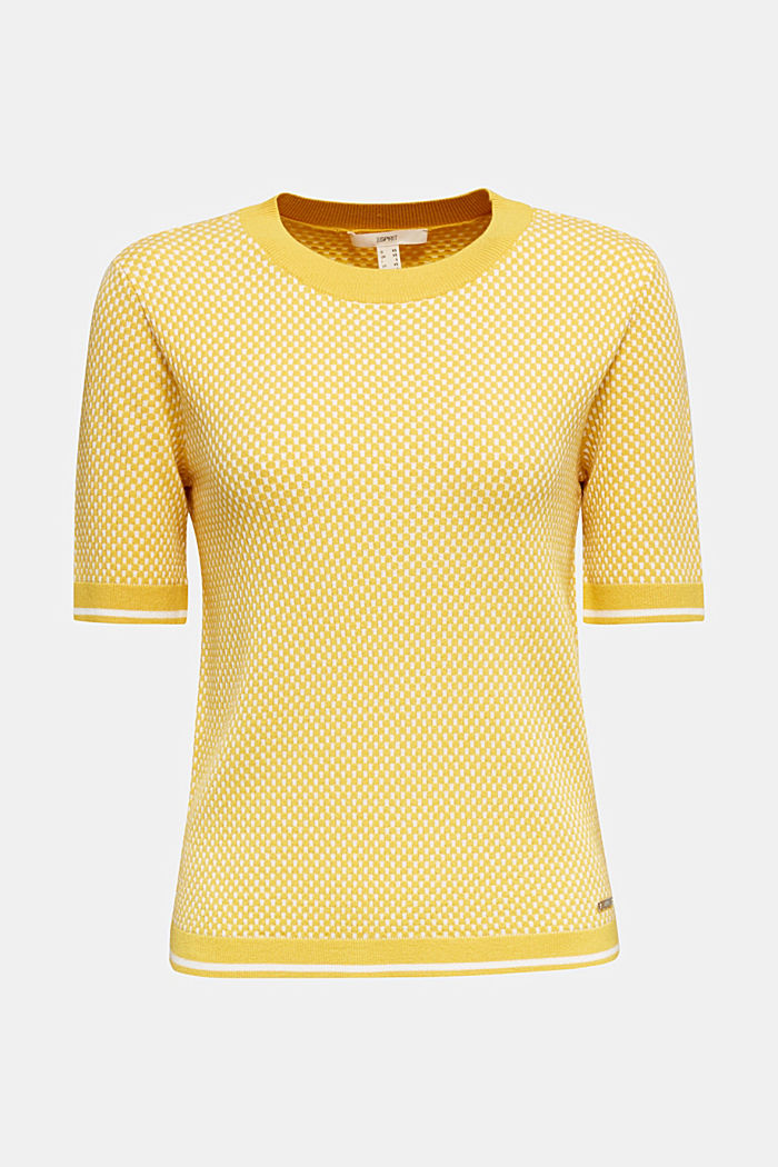 Short sleeve jumper with LENZING™ ECOVERO™, YELLOW, detail image number 7