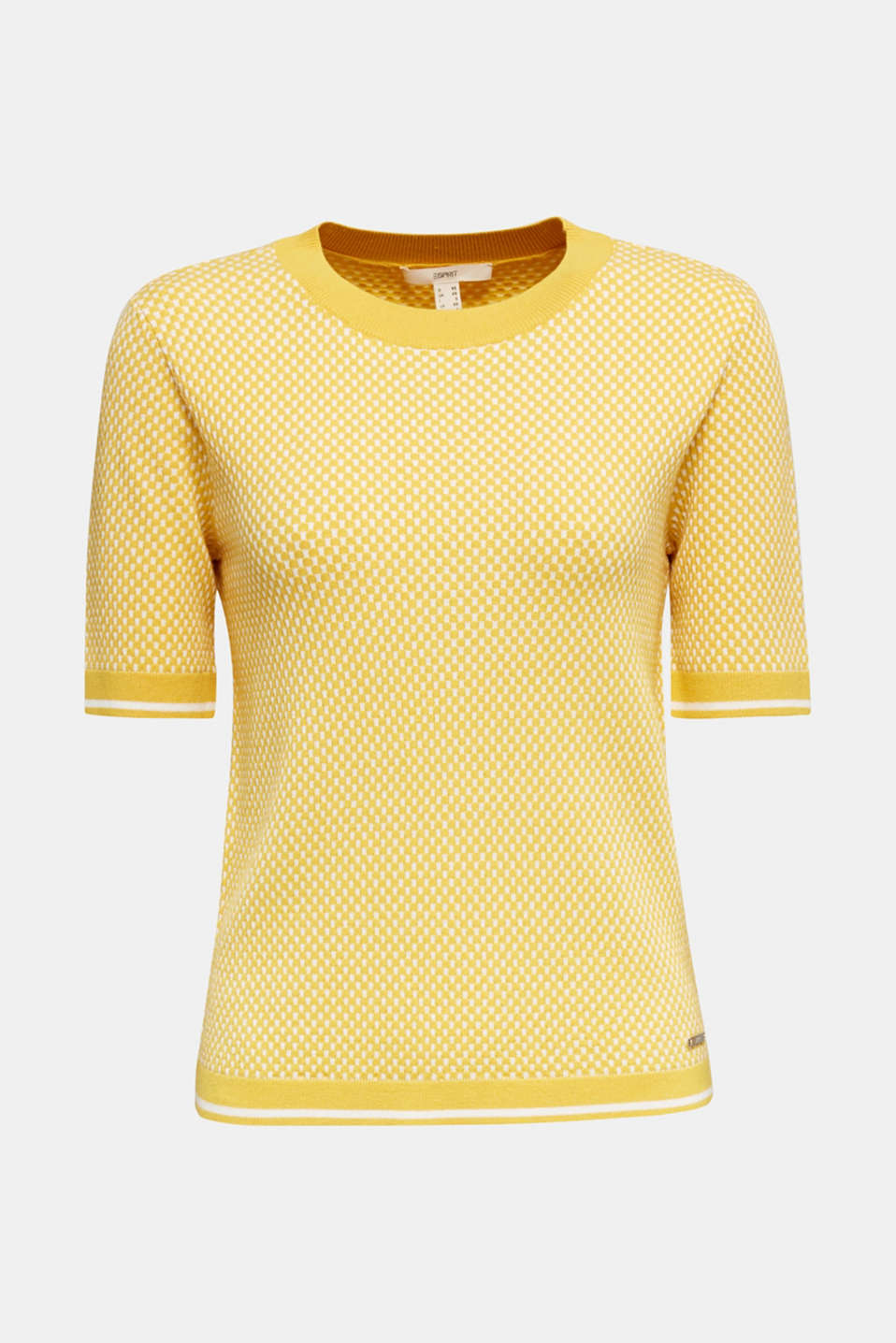 Short sleeve jumper with LENZING™ ECOVERO™, YELLOW 4, detail image number 7
