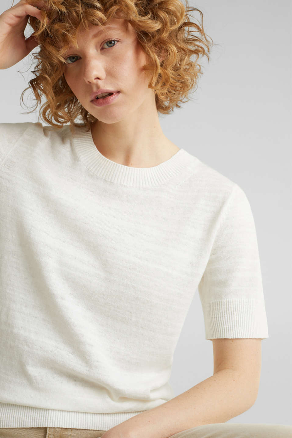 With linen: Short-sleeved jumper, OFF WHITE, detail image number 6