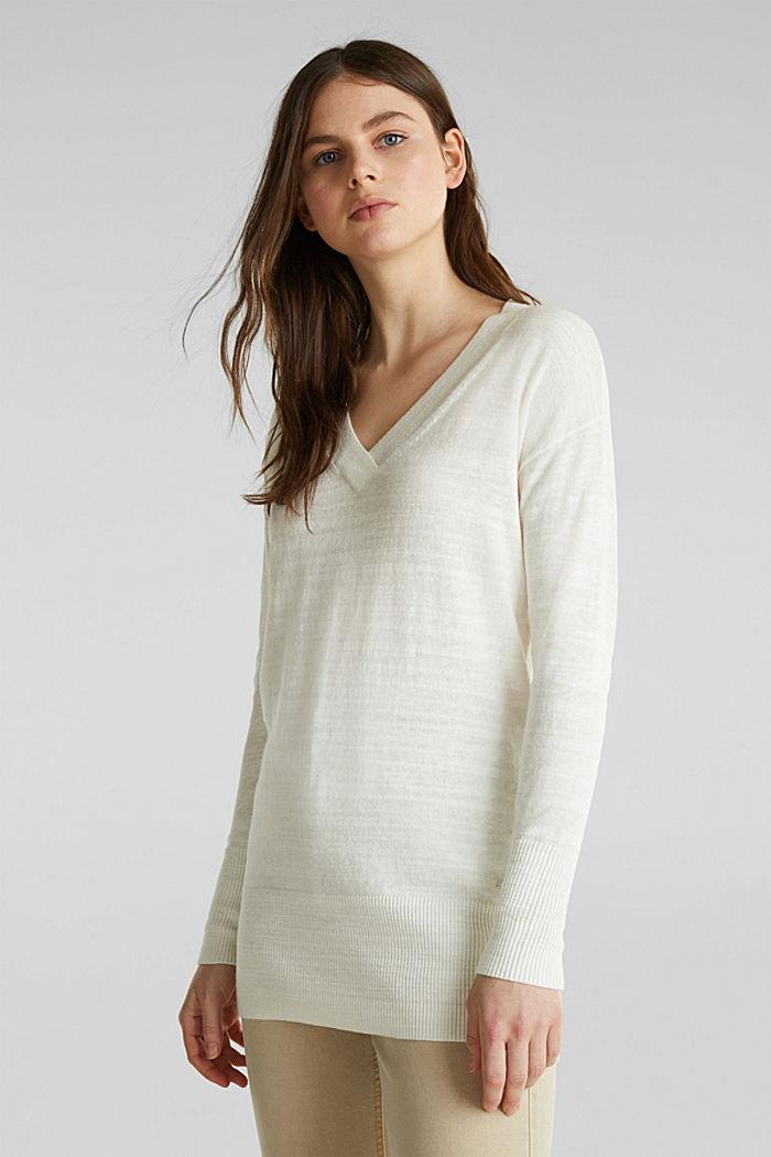Blended linen: V-neck jumper, OFF WHITE, detail image number 0