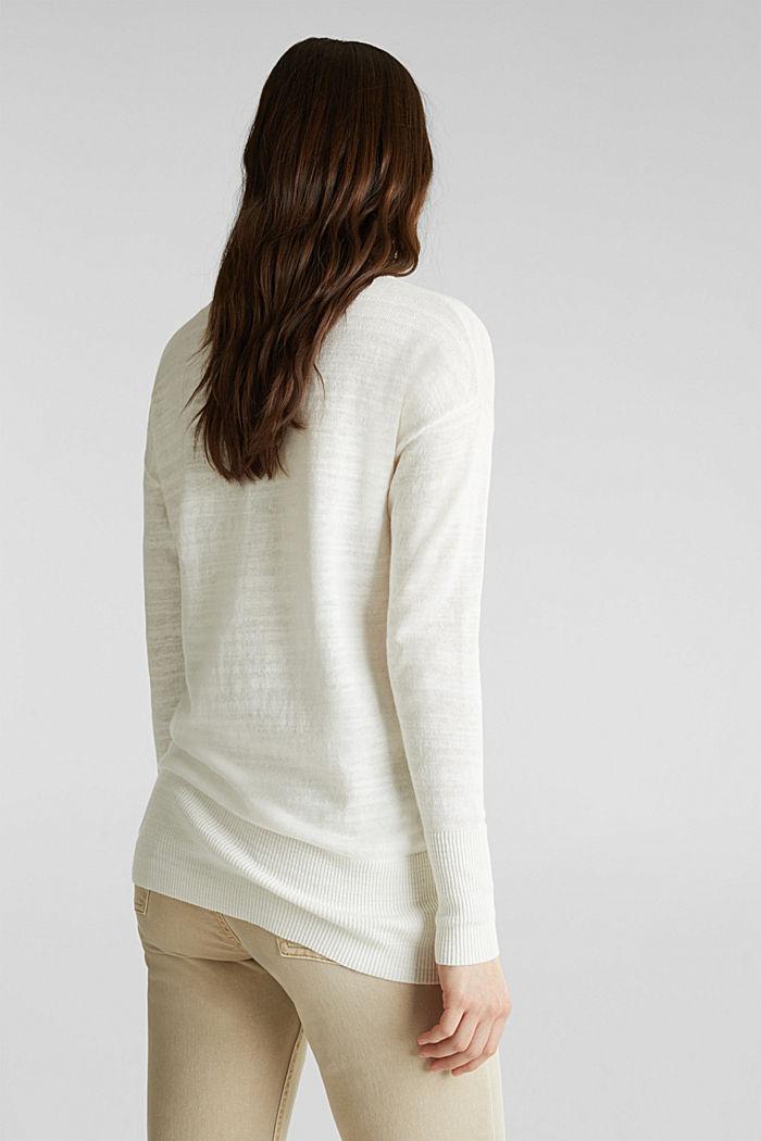 Blended linen: V-neck jumper, OFF WHITE, detail image number 3