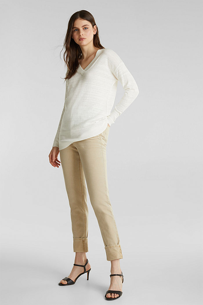 Blended linen: V-neck jumper