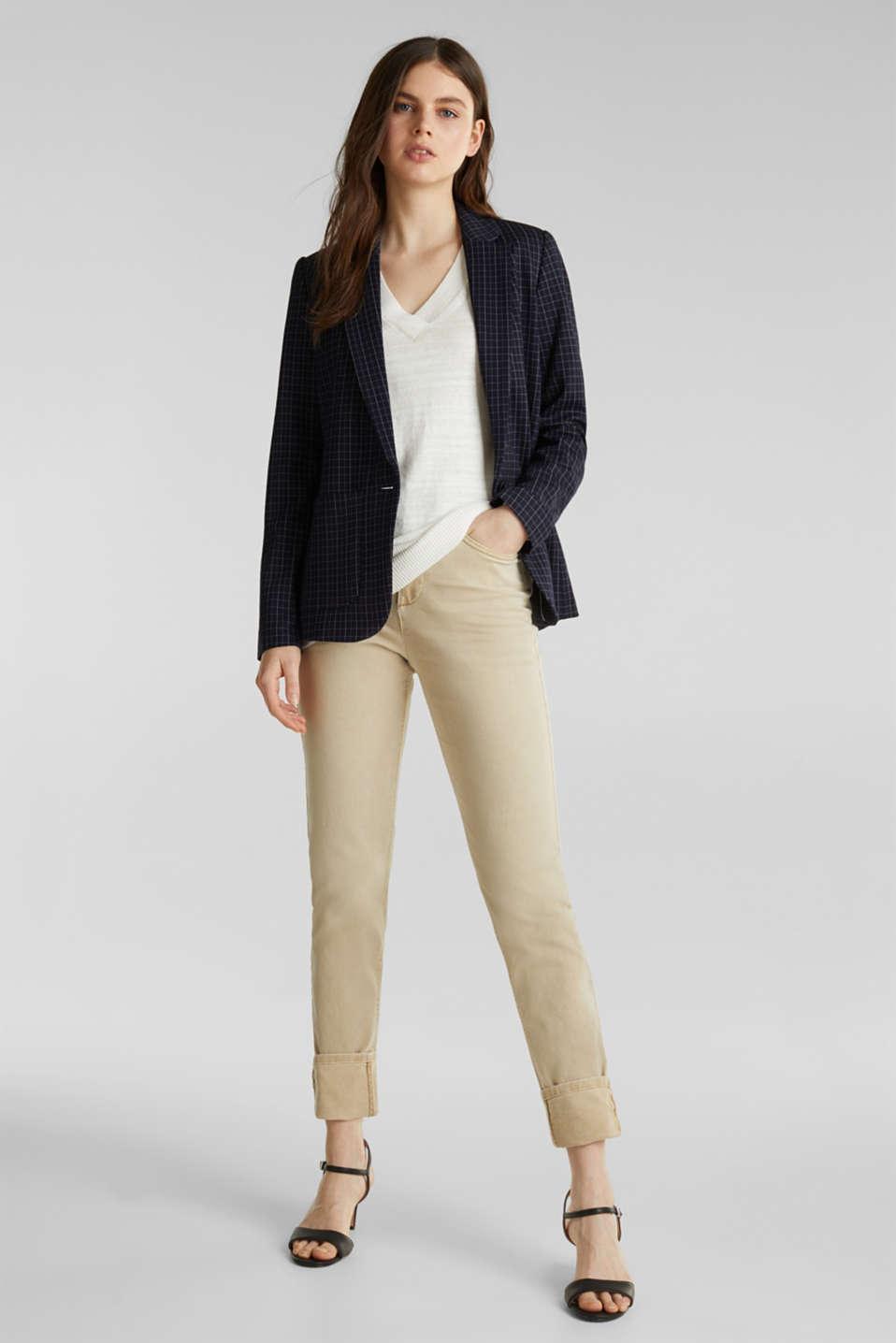 Blended linen: V-neck jumper, OFF WHITE, detail image number 1