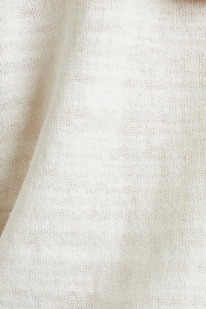 Blended linen: V-neck jumper, OFF WHITE, detail image number 4