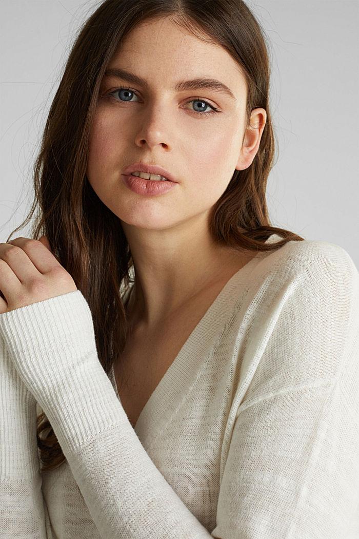 Blended linen: V-neck jumper, OFF WHITE, detail image number 6