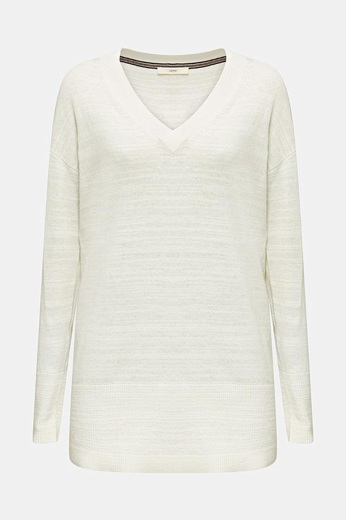 Blended linen: V-neck jumper, OFF WHITE, detail image number 7