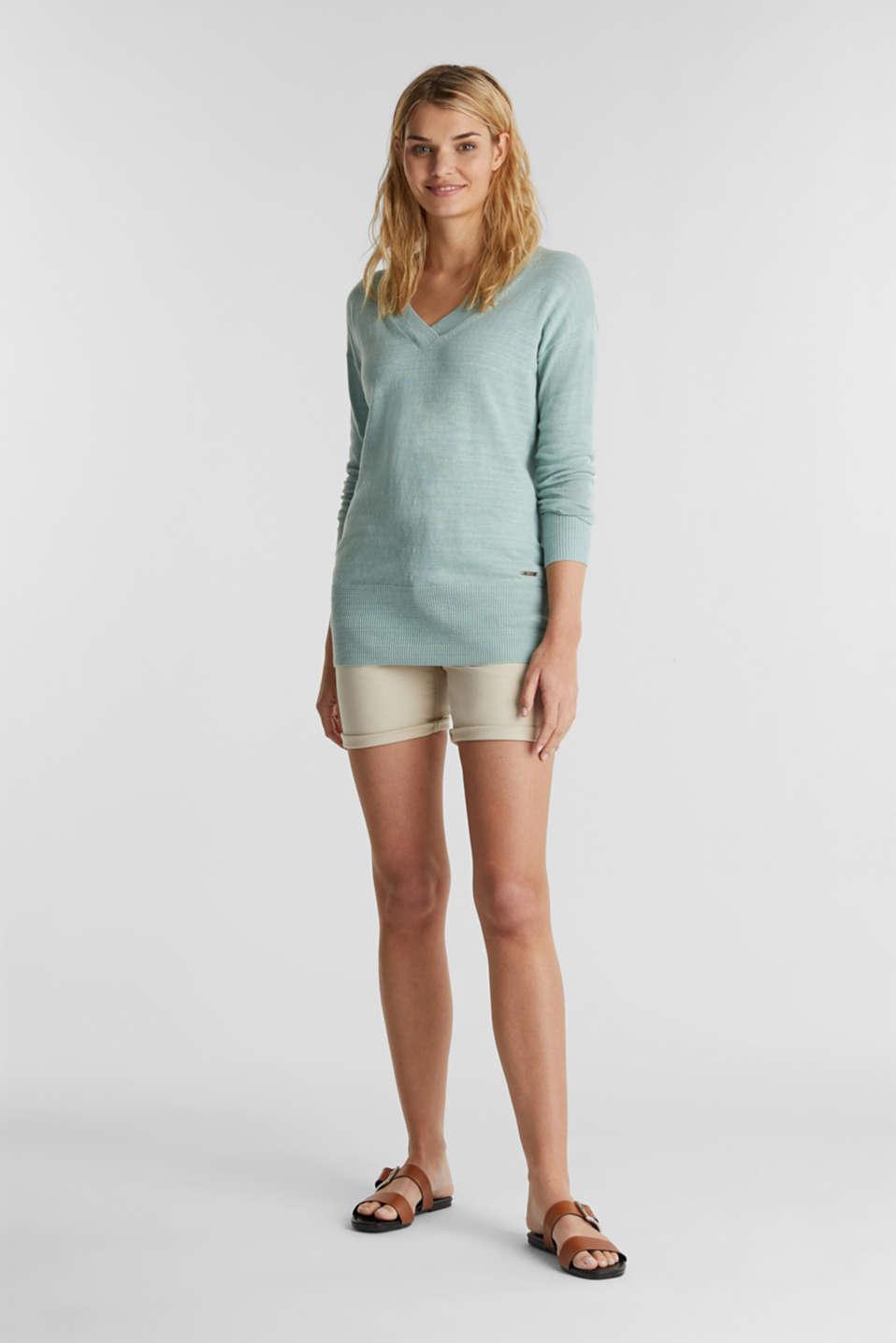 Blended linen: V-neck jumper, LIGHT AQUA GREEN, detail image number 1