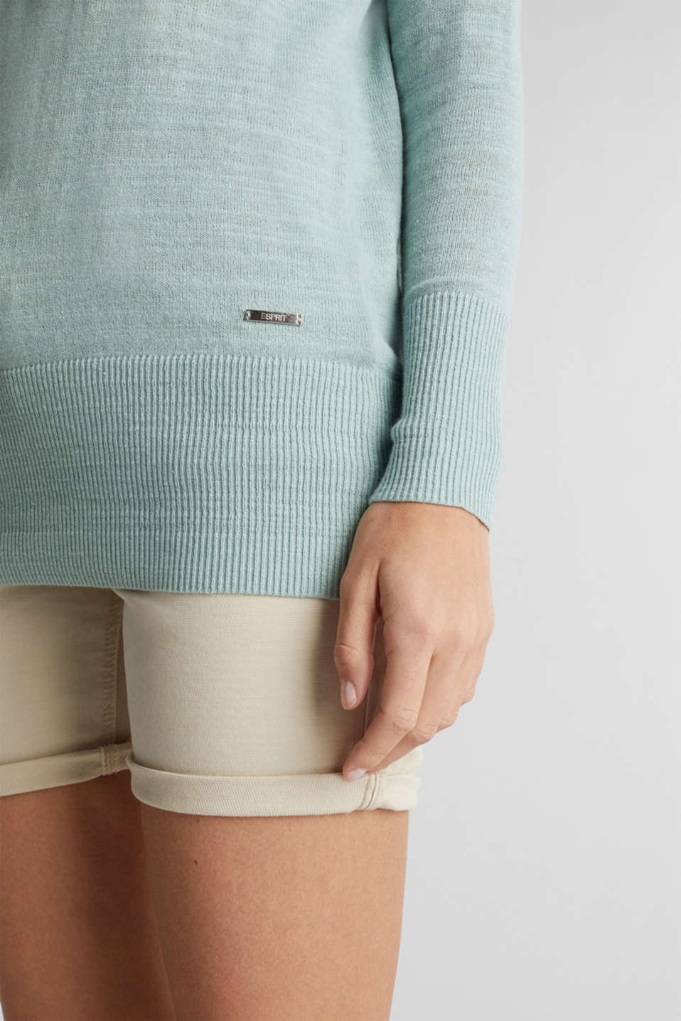 Blended linen: V-neck jumper, LIGHT AQUA GREEN, detail image number 2
