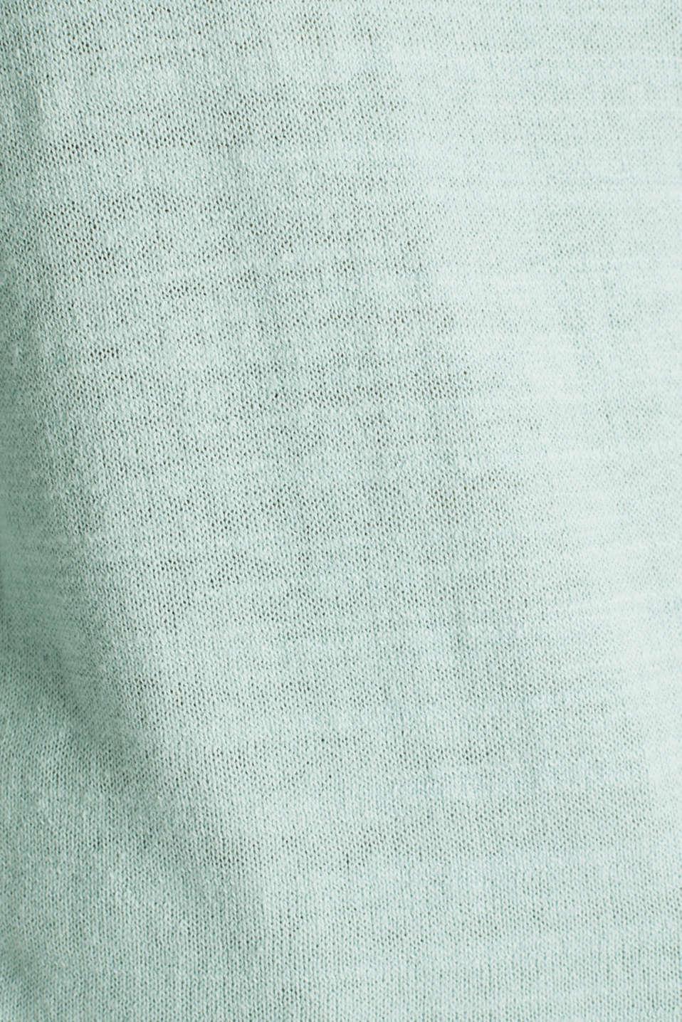 Blended linen: V-neck jumper, LIGHT AQUA GREEN, detail image number 4